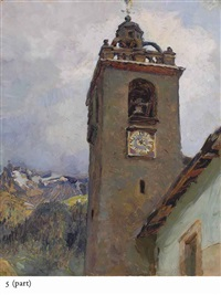 le clocher de l'église de champéry (illustrated) (+ meudon; 2 works) by maria vasilevna jakunchikova