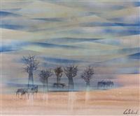 wildebeest and trees in landscape by gordon vorster