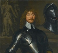 portrait of james graham, 1st marquess of montrose, half length, wearing armour, with a statue of minerva beyond by william dobson