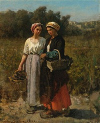 two young women picking grapes (study for the vintage at château lagrange) by jules breton