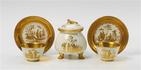 a meissen cream pot with cover and two tea bowls and saucers painted in augsburg