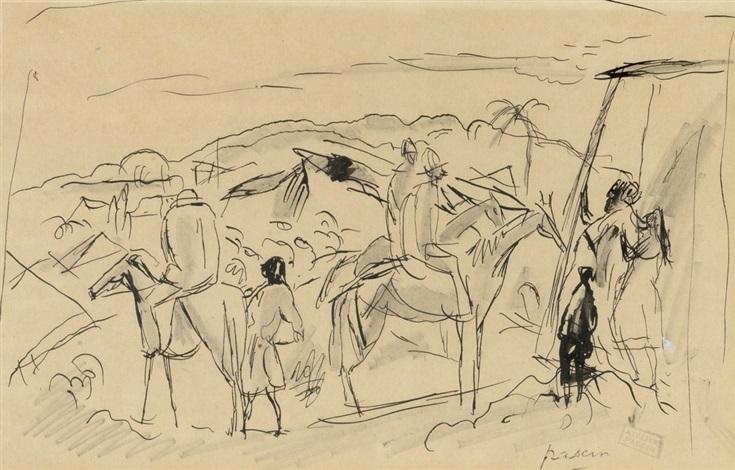 cavaliers dans le désert by jules pascin