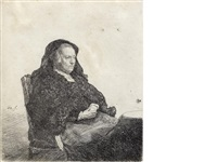 the artist's mother seated at a table, looking right: three quarter length by rembrandt van rijn