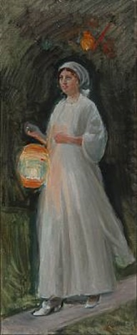 young girl in light summer dress with a colored lamp study by michael peter ancher