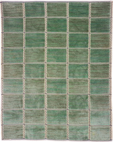 rutig grön halvflossa checkered green half pile rug by marta maas fjetterstrom