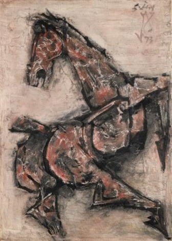 untitled galloping horse by maqbool fida husain