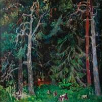 promenade en forêt by jean claude aujame