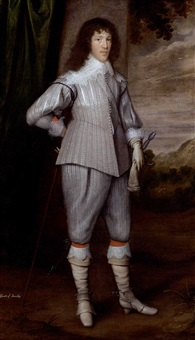 portrait of dutton, 3rd baron gerard, of bromley, staffordshire in a silver-grey slashed doublet and hose by george geldorp