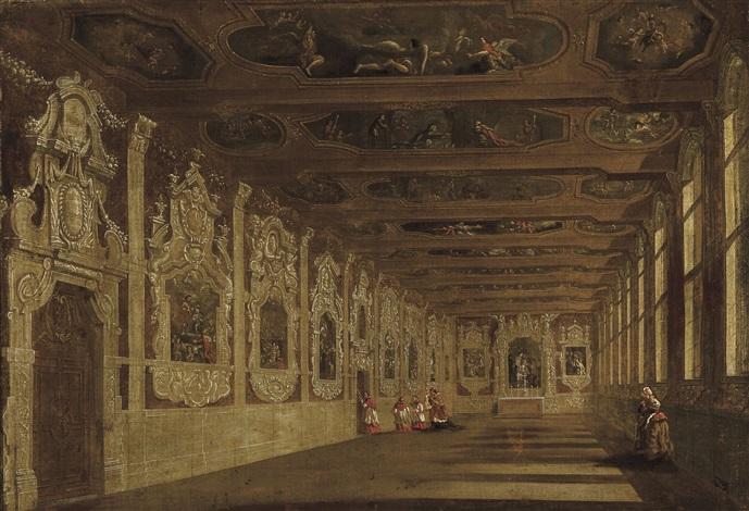 intérieur animé dune église baroque en italie by wilhelm schubert van ehrenberg