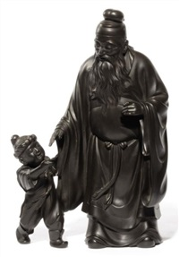 a bearded elderly figure looking at a young boy by japanese school (20)