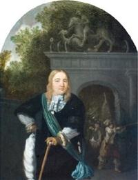 portrait d'un officier de la garde de leyde, devant la doelen poort à leyde by dominicus van tol