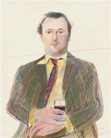 portrait of peter langan with a glass of wine by david hockney