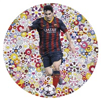 lionel messi and a universe of flowers by takashi murakami