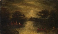 indian encampment on a river bank by ralph albert blakelock