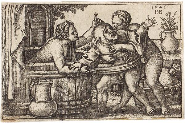 ein narr mit zwei badenden weibern querfüllung mit einer maske 2 works by hans sebald beham