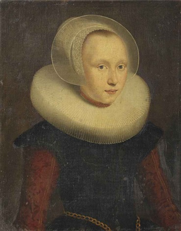 portrait of a thirteen year old girl three quarter length said to be dieuwertje van abbenbroek in a red and black dress with a white molensteen kraag and a coral necklace by dutch school 17