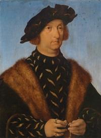 bildnis eines mannes, der einen rosenkranz in händen hält by joos van cleve