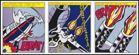 as i opened fire poster triptych by roy lichtenstein