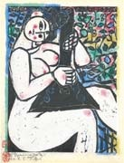 a woman with a balalaika by shiko munakata