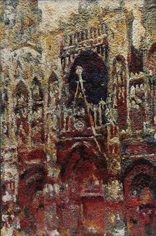 rouen cathedral façade gray day after claude monet from pictures of pigment by vik muniz