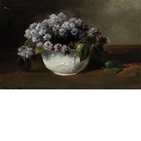 still life of flowers in a bowl by benjamin champney
