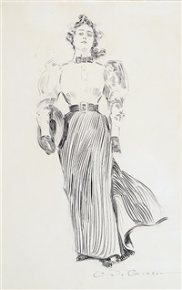 striding woman with hat under her arm (bk illus. for drawings by c. d. gibson) by charles dana gibson