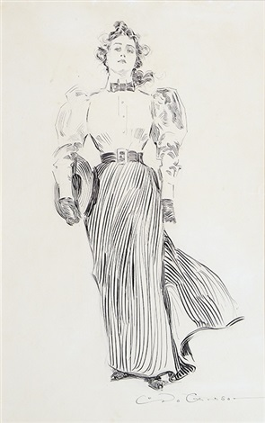 striding woman with hat under her arm bk illus for drawings by c d gibson by charles dana gibson