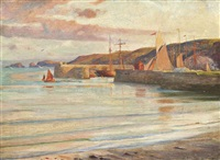 polperro, sunset by frank dicksee
