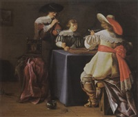 an elegant company smoking and playing tric-trac in an interior by françois verwilt