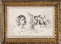 a boy looking up and two weeping angels on a cloud, after guercino by francesco bartolozzi