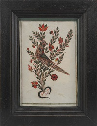 frakture: bird perched on a tulip branch arising from a heart by johann adam eyer