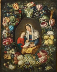 the madonna and child surrounded by a garland of different flowers and fruits (in collab. w/follower of frans francken the younger) by philippe de marlier