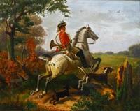 hornist auf seinem schimmel und mit hunden beim querfeldeinritt by wilhelm camphausen