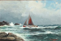 coastal landscape with fishing boat and rocks by lars laurits larsen haaland
