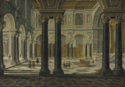 a palace interior with figures by bartholomeus van bassen