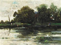 cattle and boatman on river by jack cudworth