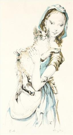 jeune fille au chat by léonard tsuguharu foujita