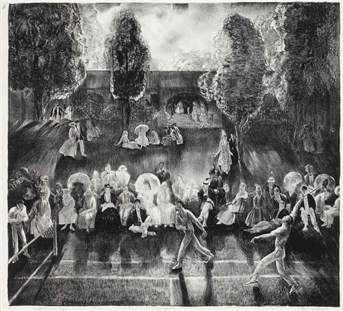 tennis (tennis tournament) and the tournament (tennis at newport) (2 works) by george wesley bellows