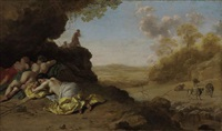 a classical landscape with sleeping nymphs by dirck van der lisse