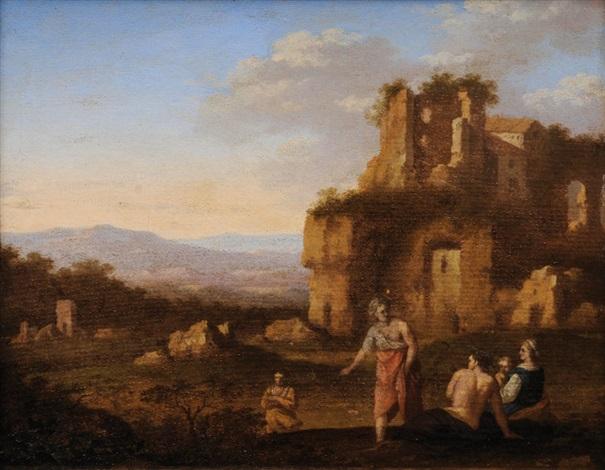 arcadian landscape by cornelis van poelenburgh