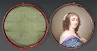 portrait de ninon de lenclos en robe bleue, en buste vers la droite, coiffée de rouleaux retombant et ornés de fleurs blanches by louise girard