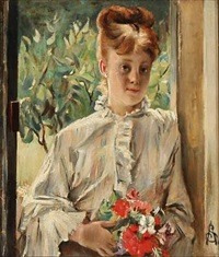 a girl with flowers by alfred stevens