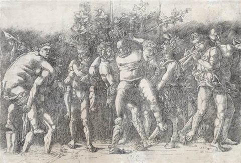 bacchanal with silenus by andrea mantegna