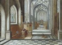 a gothic church interior with saint jerome by hendrick van steenwyck the younger
