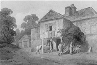 figures outside the wheatsheaf tavern by james baynes
