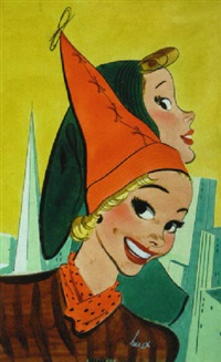 women modelling fashionable hats, skyline in background by earl oliver hurst