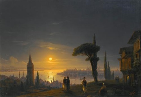 the galata tower by moonlight by ivan konstantinovich aivazovsky