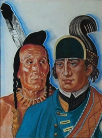 heads of major rogers and indian chief (illus. for northwest passage) by winold reiss