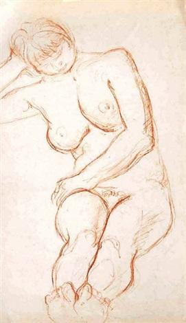nu féminin assis le tête reposant sur la main droite la main gauche posée sur la cuisse droite by charles despiau