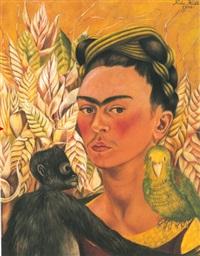 autorretrato con chango y loro by frida kahlo